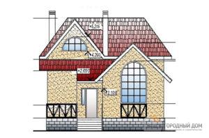Проект двухэтажного  дома мансардного типа, общей площадью 139 м2, К-0999