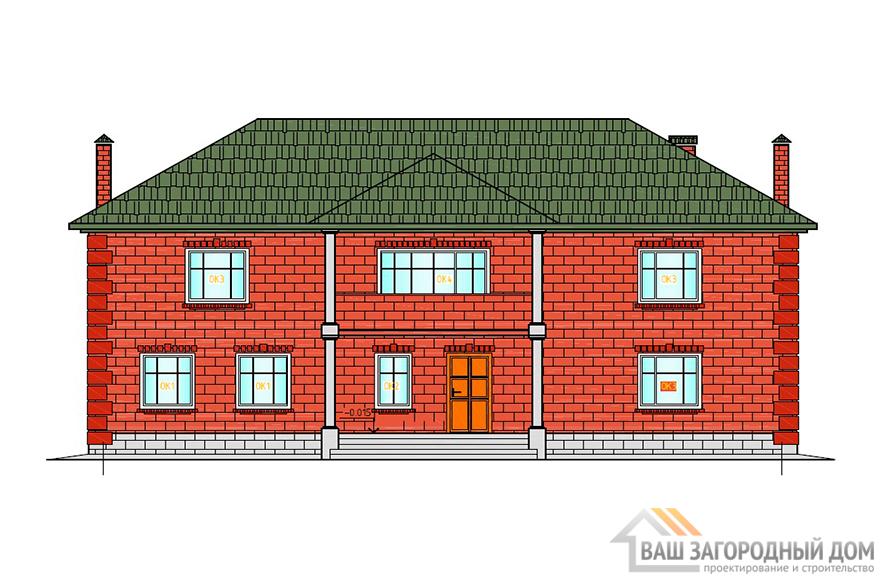 Готовый проект дома в два этажа, общей площадью 288 м2, К-0077