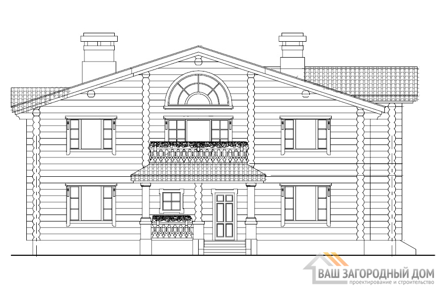 Проект двухэтажного дама с баней, площадью 502 м2, К-0079