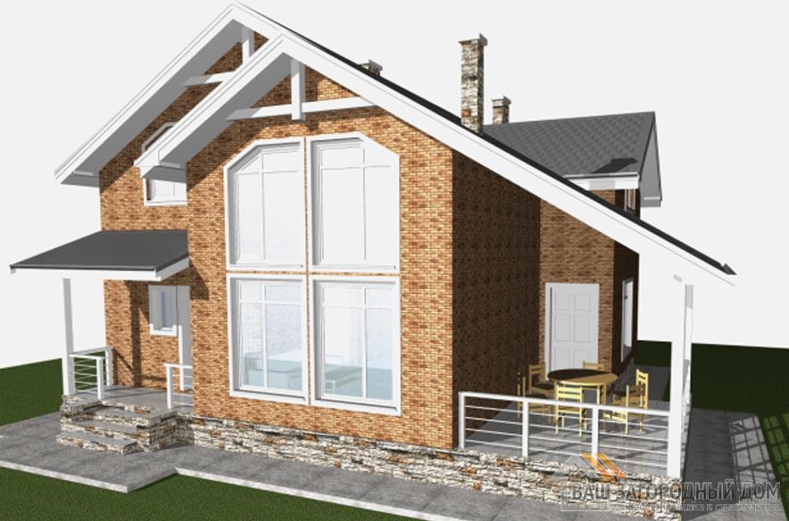 Проект дома в 2 этажа с террасой, общей площадью 161 м2, Д-0334