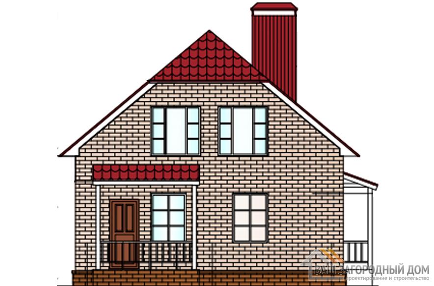 Проект дома в 2 этажа с террасой, общей площадью 138 м2, К-0342