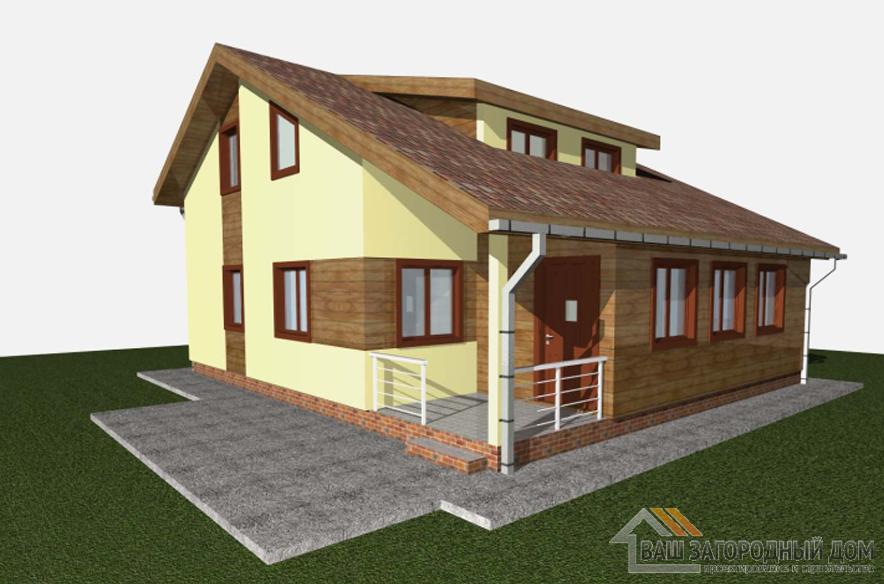 Проект дома в 2 этажа с террасой, общей площадью 142 м2, КР-0347