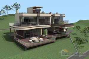 Проект дома в 2 этажа в стиле модерн, общей площадью 320 м2, К-0348
