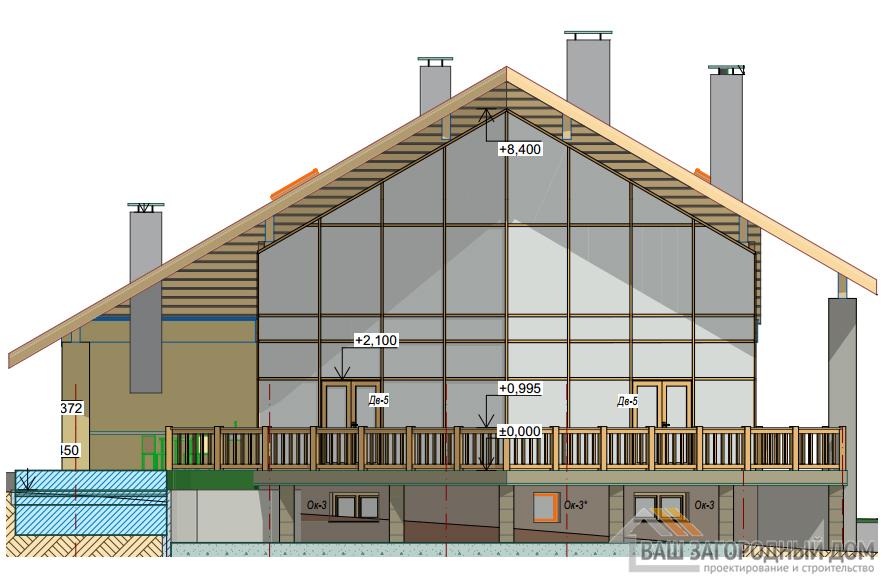 Проект дома в 2 этажа с гаражом, общей площадью 454 м2, К-0349