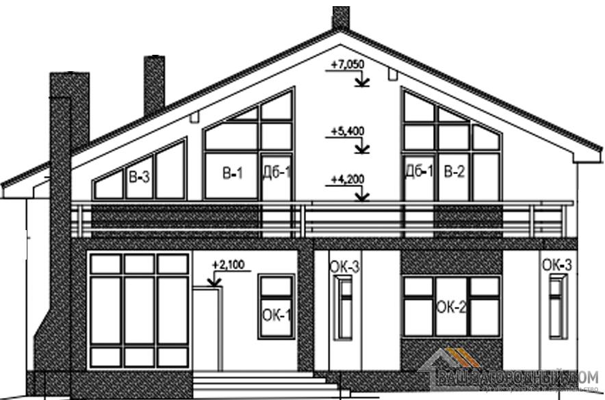 Проект дома в 2 этажа с террасой, общей площадью 261 м2, К-0354