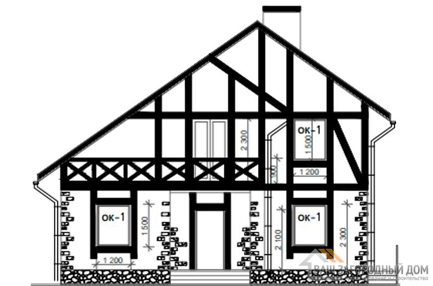 Проект дома в 2 этажа с террасой, общей площадью 214 м2, К-0358