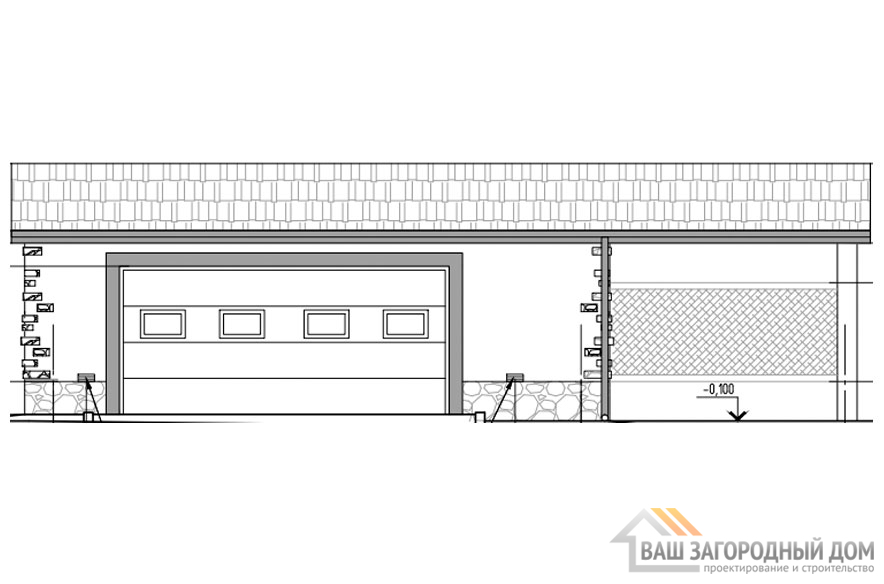Проект гаража, общей площадью 69 м2, К-0359