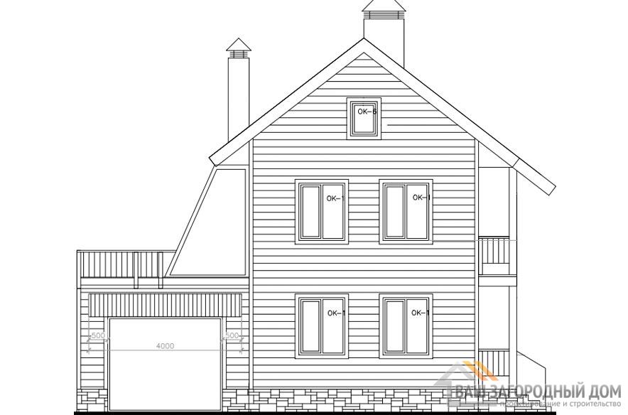 Проект дома в 2 этажа с террасой, общей площадью 175 м2, Д-0363