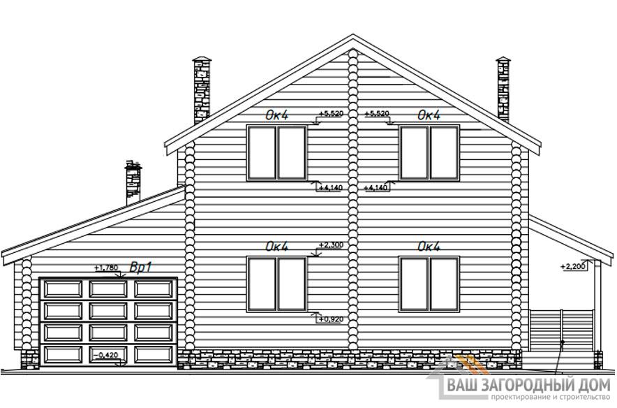 Проект дома в 2 этажа с гаражом, общей площадью 180 м2, К-0365