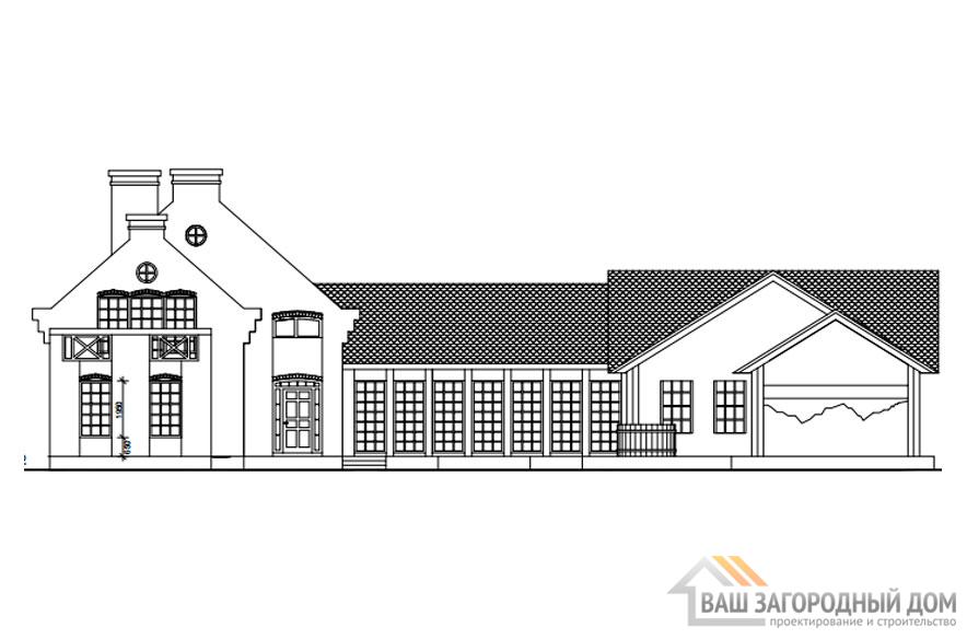 Проект дома в 2 этажа с террасой, общей площадью 380 м2, К-0367