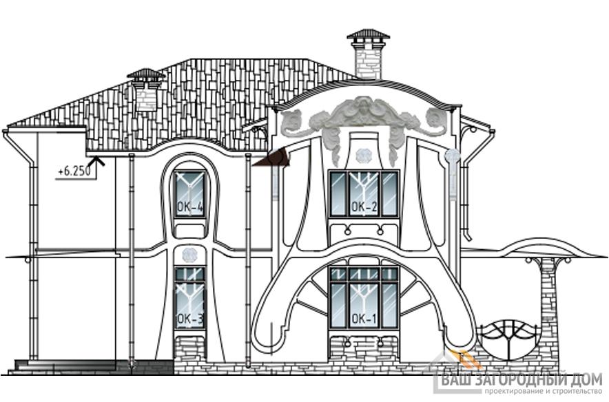 Проект дома в 2 этажа с террасой, общей площадью 217 м2, К-0384
