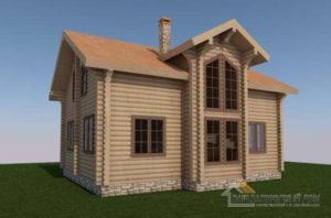 Проект дома в 2 этажа с террасой, общей площадью 126 м2, Д-0388