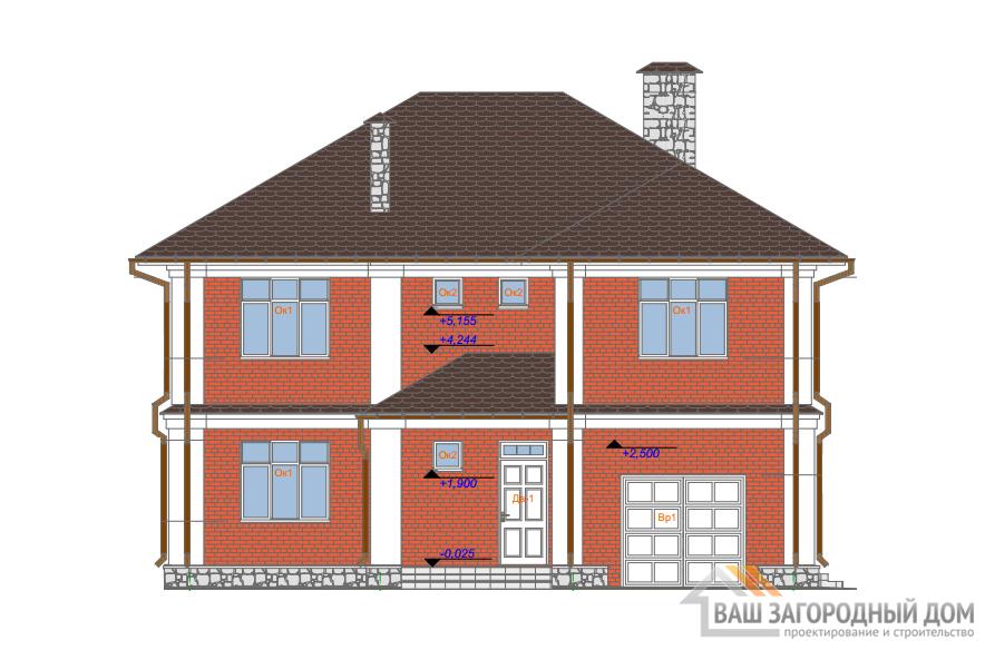 Проект дома в 2 этажа с гаражом, общей площадью 201 м2, К-0392