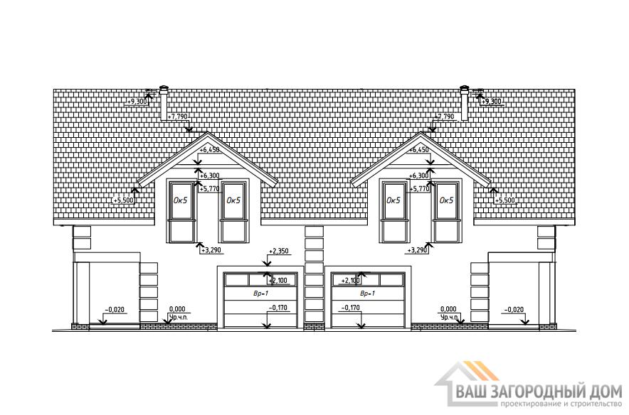Проект дома в 2 этажа с гаражом, общей площадью 223 м2, К-0399