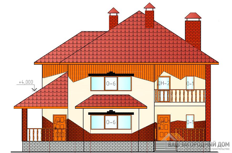 Проект двухэтажного дома с многоскатной крышей, площадь 254 м2, К-0091