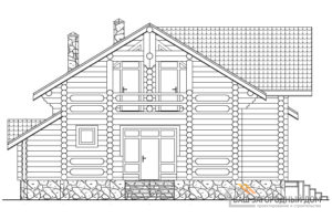 Проект двухэтажного дома из цилиндрованных бревен, площадью 229 м2, К-0094