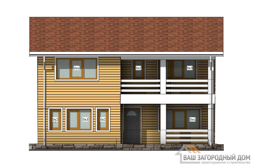Проект дома в 2 этажа с подвалом, общей площадью 201 м2, К-0400