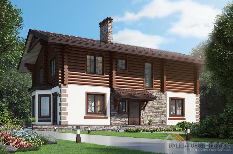 Проект дома в 2 этажа с террасой, общей площадью 235 м2, К-0402