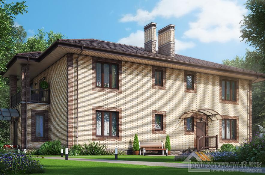 Проект 2 этажного кирпичного дома площадью 339 м2, К-0405