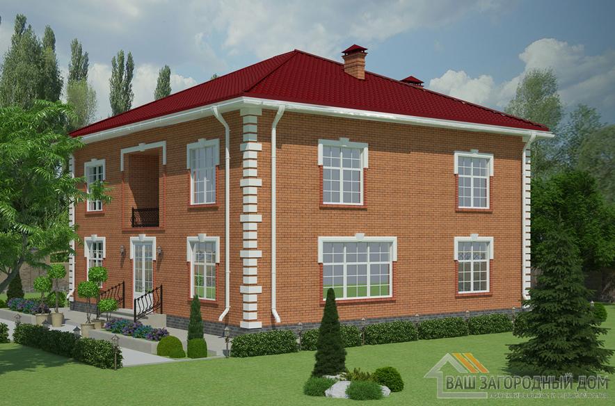 Проект 2 этажного кирпичного дома площадью 366 м2, К-0406
