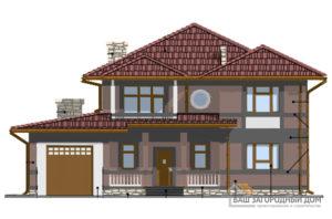 Проект 2 этажного газобетонного дома с гаражом площадью 240 м2, К-0422
