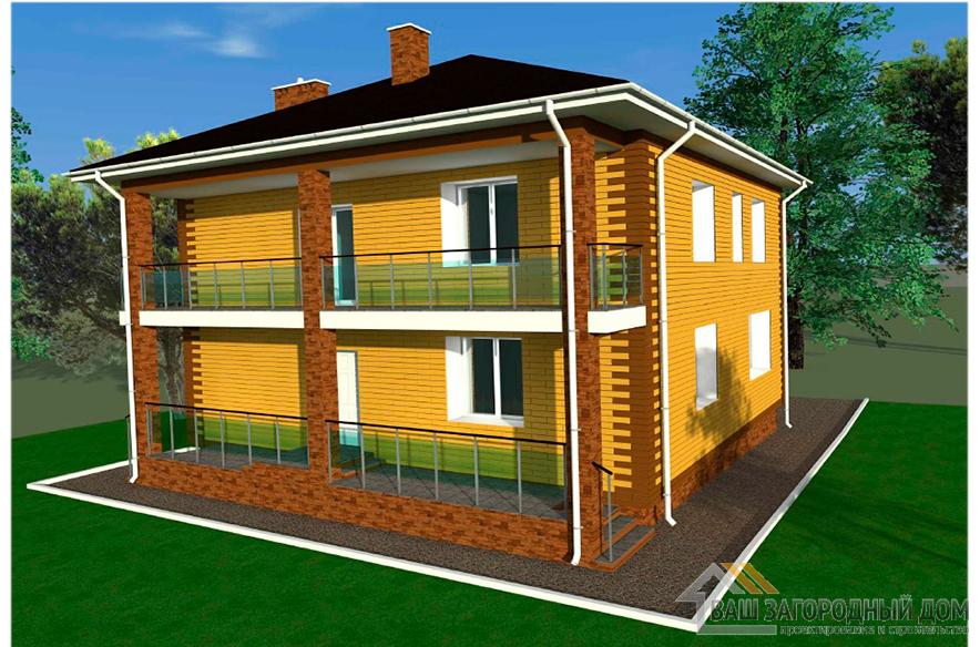 Проект 2-х этажного коттеджа, общей площадью 192 м2, К-0403