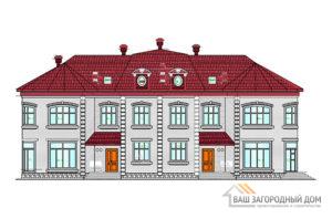 Проект двухэтажного дома на две семьи, общей площадью 470 м2, К-0071