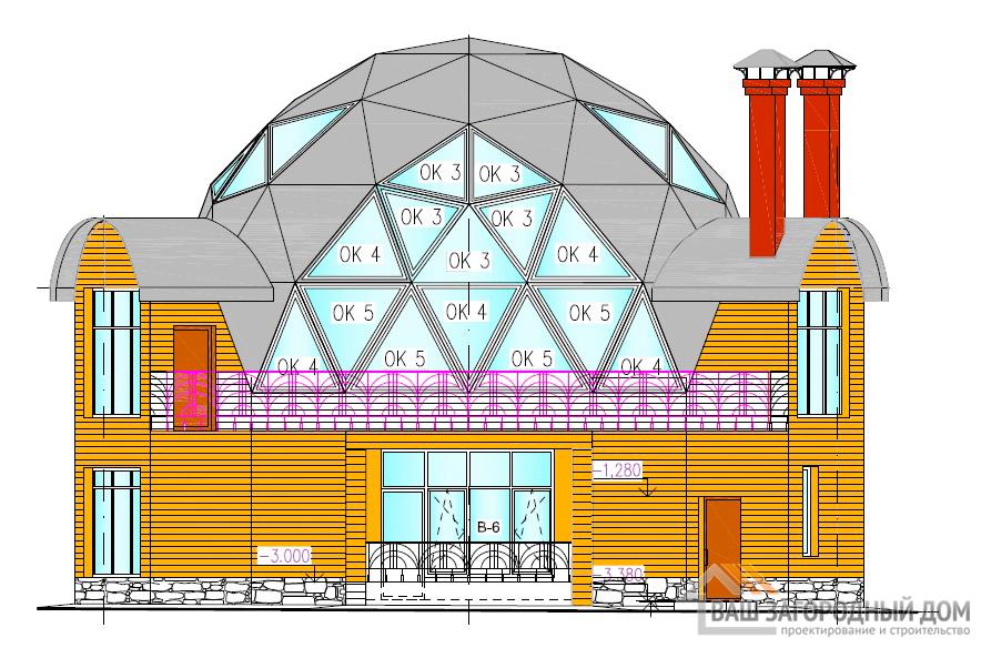 Оригинальный проект 2-х этажного дома с жилым цокольным пространством, общей площадью 339 м2, К-0076