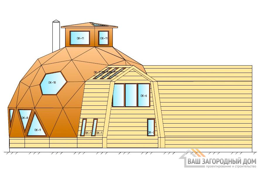 Оригинальный проект 2-х этажного дома с куполообразными элементами, общей площадью 292 м2, К-0092