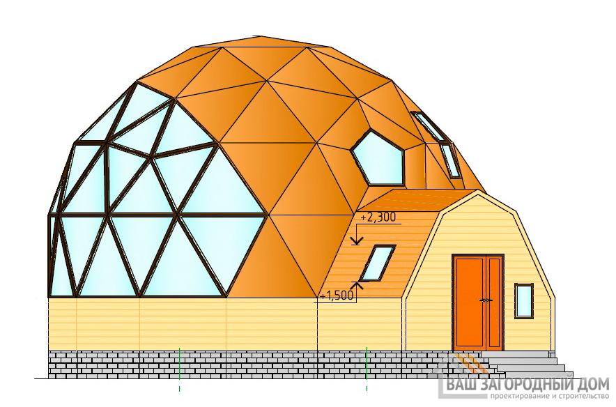 Проект двухэтажного коттеджа с куполообразной крышей, 142 м2, К-0084