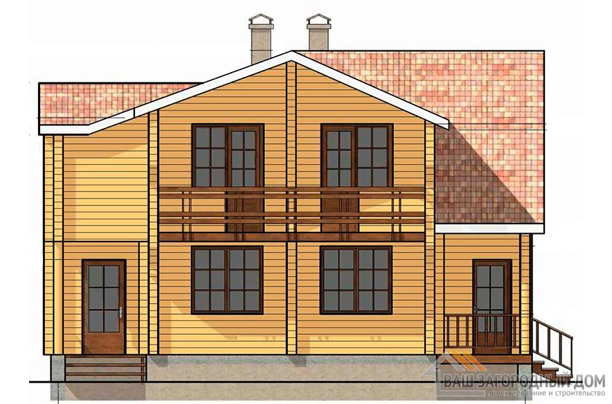 Проект 2-х этажного дома из бруса, общей площадью 144 м2, К-0133