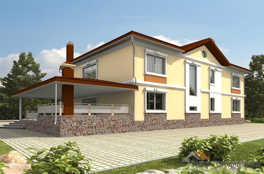 Проект 2 этажного каркасный дома площадью 326 м2, К-01382