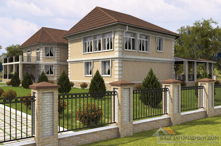 Проект кирпичного дома на 3 семьи площадью 778 м2, К-0155