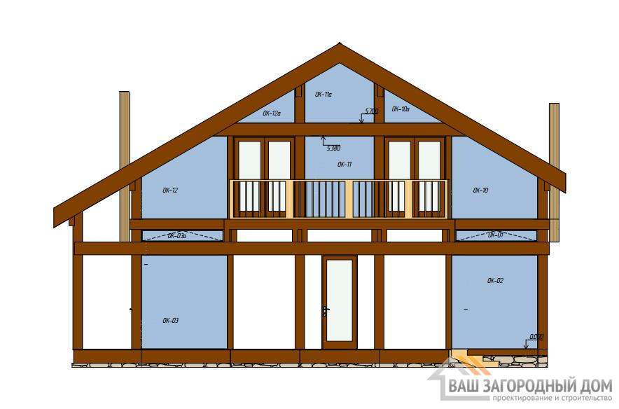Проект 2 этажного каркасного дома с террасой площадью 397 м2, К-0156