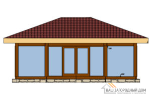Проект одноэтажной каркасной беседки площадью 45 м2, Д-0157