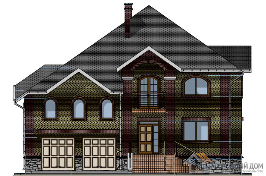 Проект 2 этажного  дома с террасой площадью 308 м2, К-0158