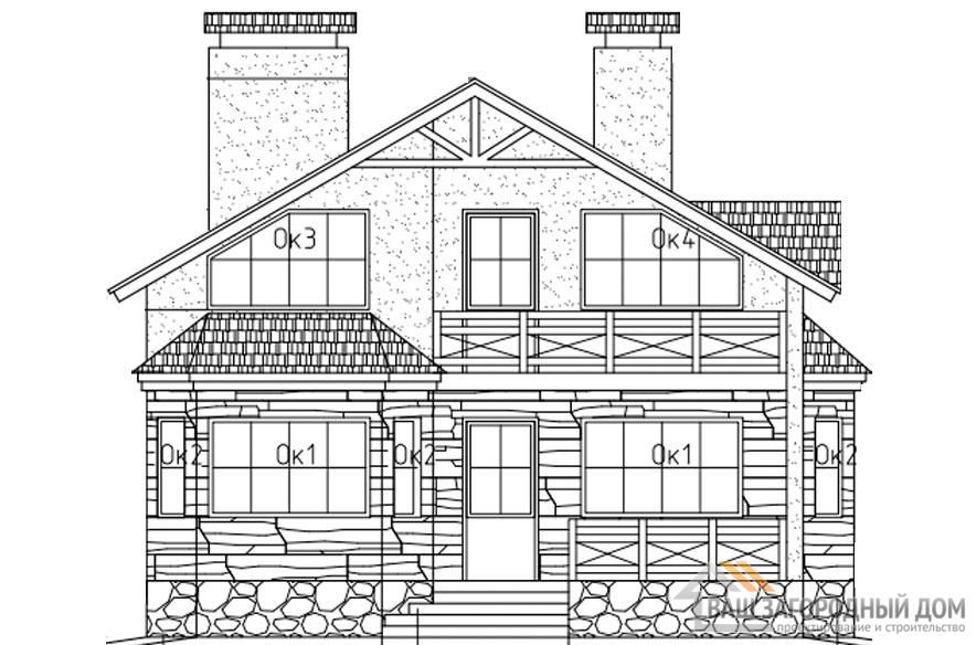 Проект 2 этажного каркасного дома площадью 134 м2, Д-0163