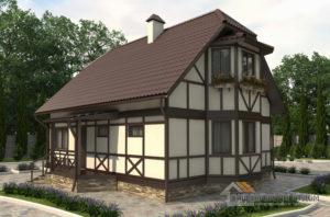 Проект 2 этажного дома, возведенного из каркаса площадью 118 м2, Д-01642