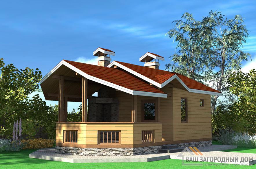 Проект деревянной бани площадью 34 м2, Д-0166