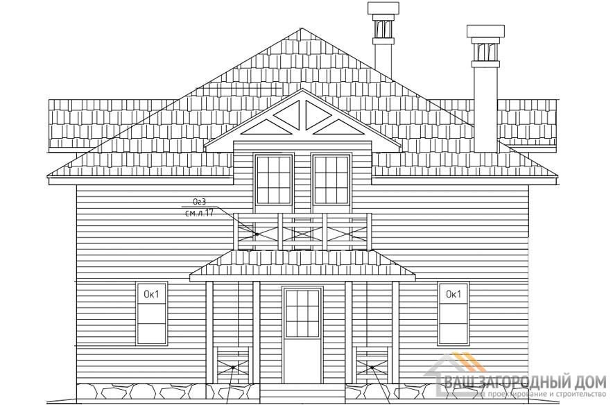 Проект 2 этажного каркасного дома площадью 167 м2, Д-0171