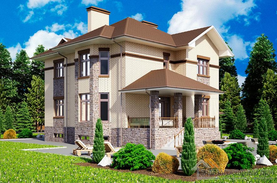 Проект 2 этажного керамического дома площадью 345 м2, К-0173