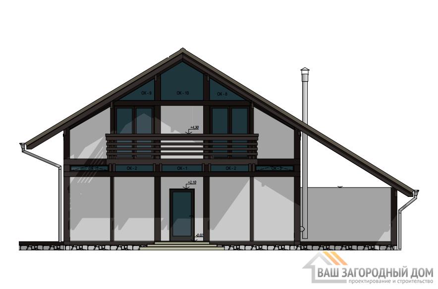 Проект 1 этажного деревянного дома с сауной площадью 266 м2, Д-0174