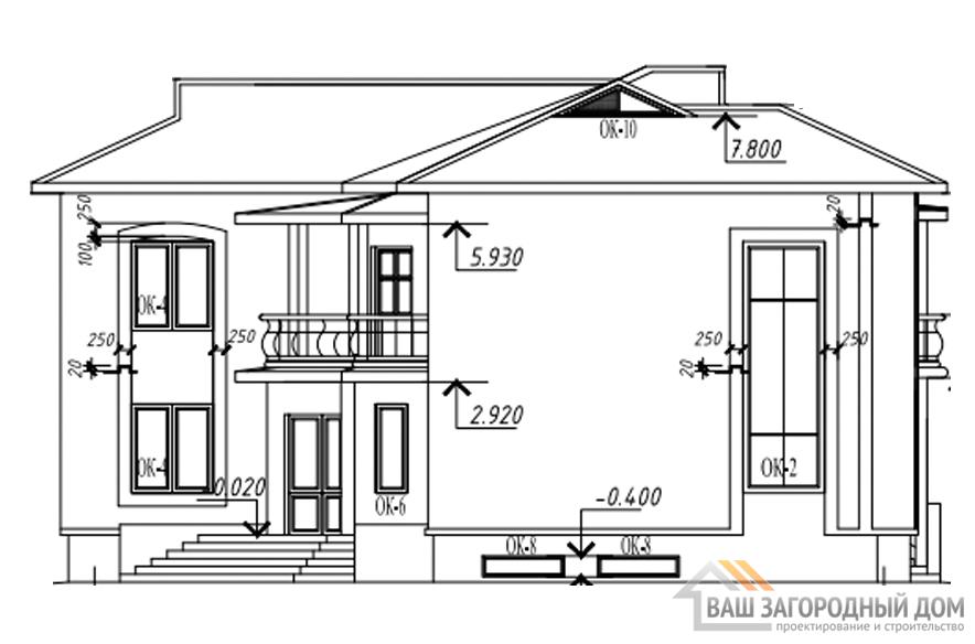 Проект 2 этажного кирпичного дома площадью 510 м2, К-0177