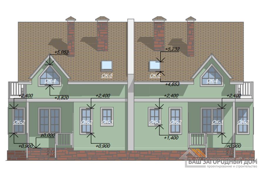 Проект 2 этажного каркасного дома на 2 семьи площадью 190 м2, КР-0184