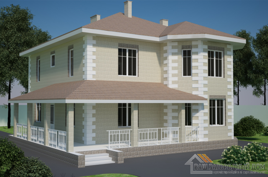 Проект 2 этажного дома площадью 189 м2, К-0185