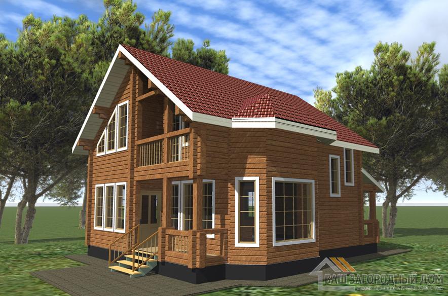 Проект 2 этажного деревянного дома площадью 115 м2, Д-0186