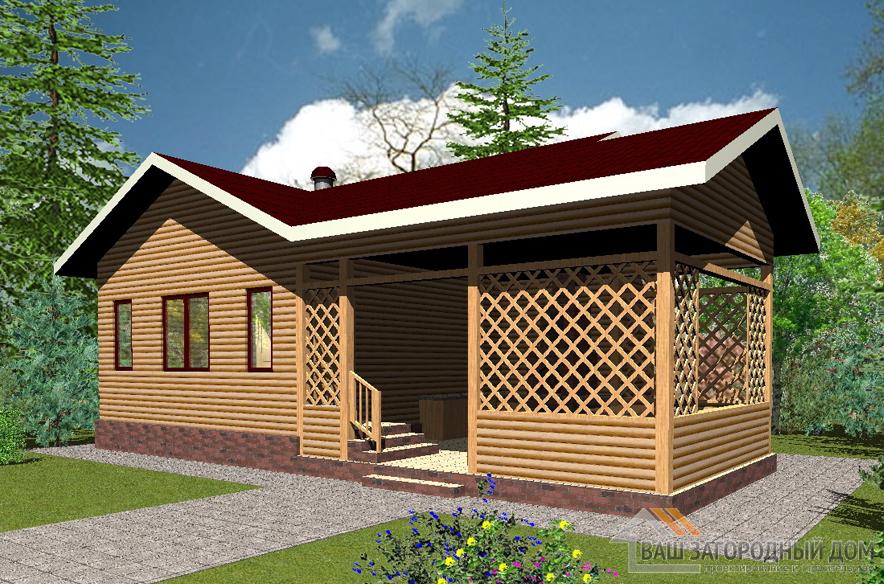 Проект одноэтажной деревянной бани площадью 57 м2, Д-0188