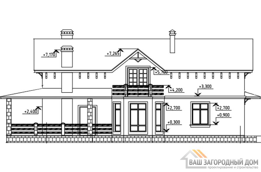 Проект 2 этажного газобетонного дома площадью 218 м2, К-0190