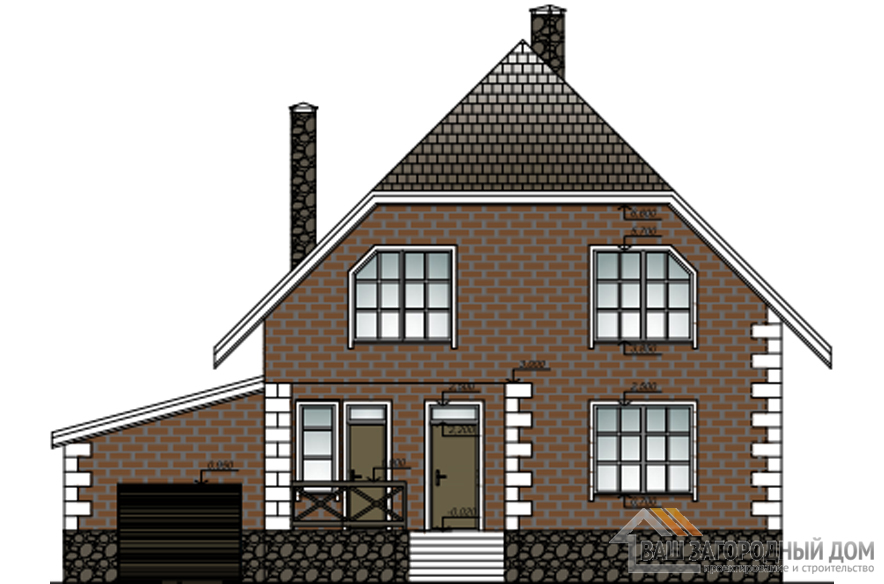 Проект 2 этажного кирпичного дома площадью 237 м2, К-0193