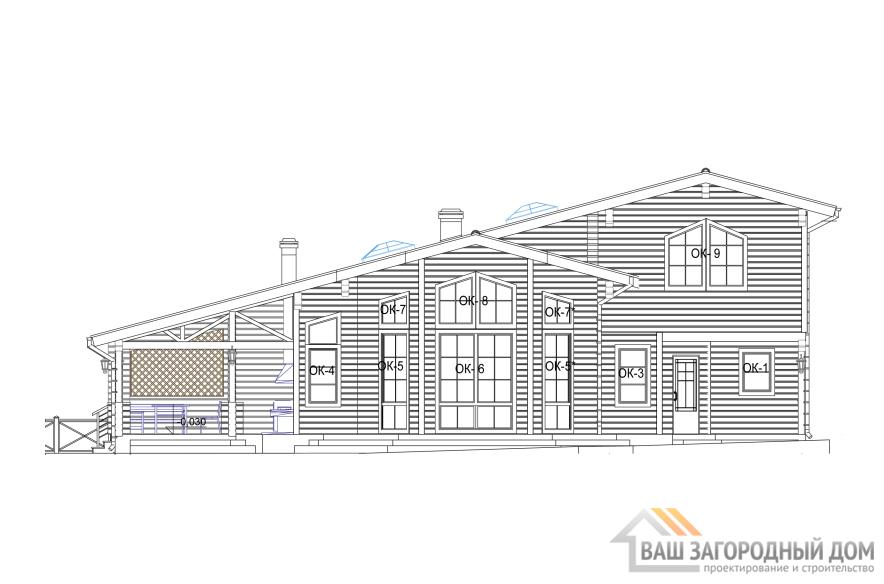 Проект 2 этажного каркасного дома площадью 179 м2, КР-0194